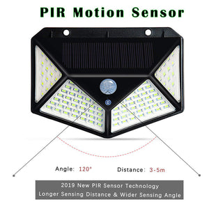 PIR Motion Sensor Wall Light 100LED Solar Energy Street light Outdoor Waterproof Yard Path Home Garden Security Solar Power lamp