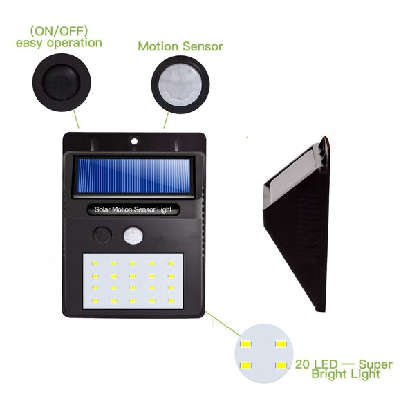 LED Solar Power PIR Motion Sensor Wall Light 20 LED Outdoor Waterproof Energy Saving Street Yard Path Home Garden Security Lamp