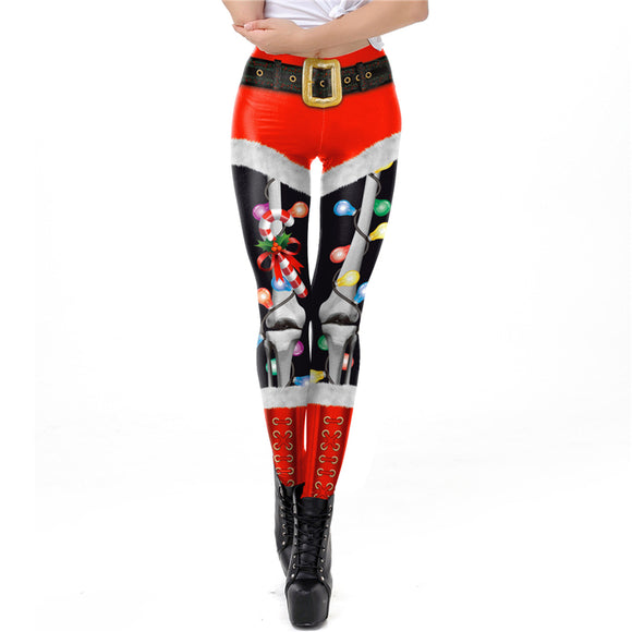 New Christmas sexy fashion light bulb pattern fashion nine pants leggings cosplay Halloween ladies trousers costume