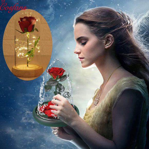 Beauty and the Beast Red Rose in a Glass Dome on a Wooden Base for Valentine's Gifts LED Rose Lamps Christmas Night light 2019