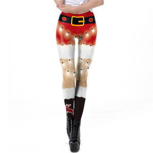 Women Sexy Christmas 3D Print Garters Legging Pants Costume Novelty Amusing Xmas Printed Colored lights Cosplay costume