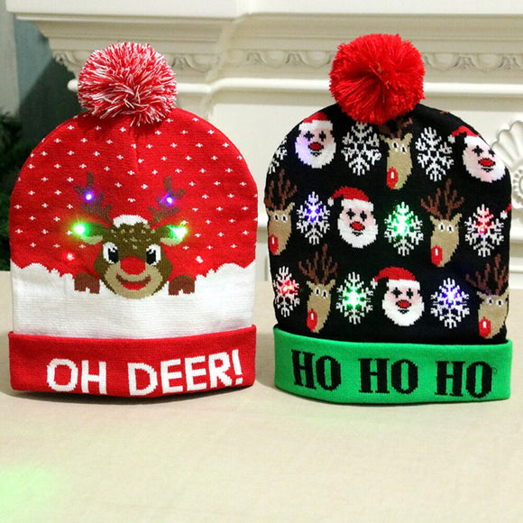 New Led Light Cotton Christmas Hat Knit Up Beanie Hat Kids Adult Children Cap Christmas Party Decoration New Year Gifts