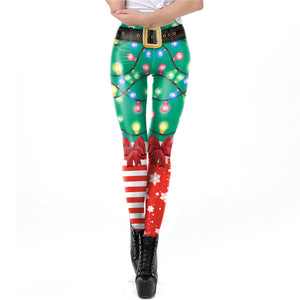 Women Sexy Christmas 3D Print red  Garters Legging Pants Costume Printed Lights and snow cosplay party pant