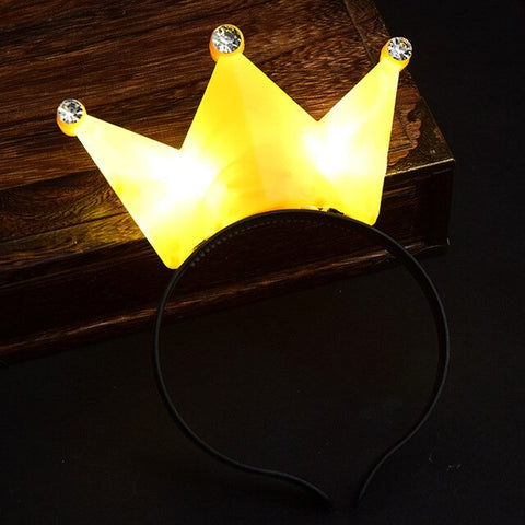 Colorful Crown Tiara LED Light Headband Kids Adults Lighted Hairband Headwear Birthday Glow Party Hair  Christmas Halloween