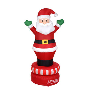 180cm Giant Santa Claus Mascot LED Lighted Inflatable Toys Christmas Halloween Props Birthday Wedding Party Yard Deco Blow Up