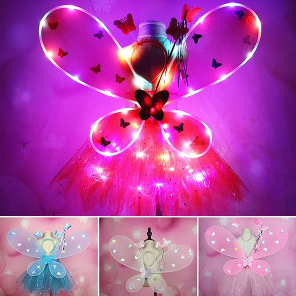 4pcs LED Light Women Girl Butterfly Wing Tutu Skirts Magic Wand   Party Birthday Gift Christmas Costume Glow Cosplay Carnival