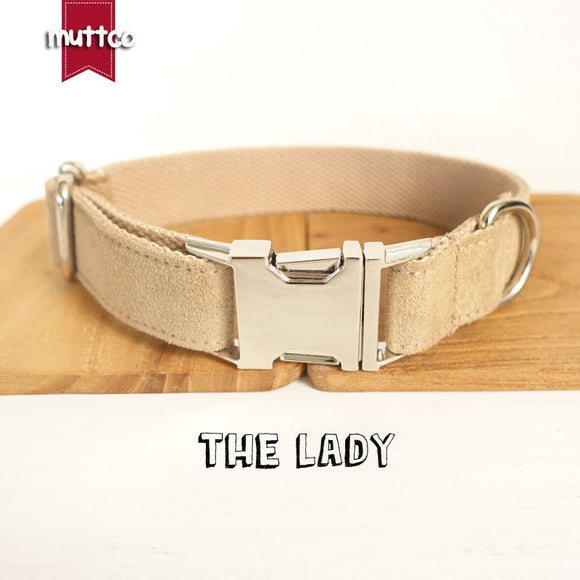 MUTTCO retailing self-design dog collar THE LADY handmade light brown 5 sizes poly satin and nylon dog collar and leash UDC027