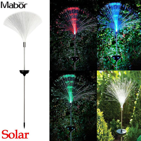 Mabor Solar Power Color Change Fibre Optic LED Light Lamp  Garden Outdoor Yard Path