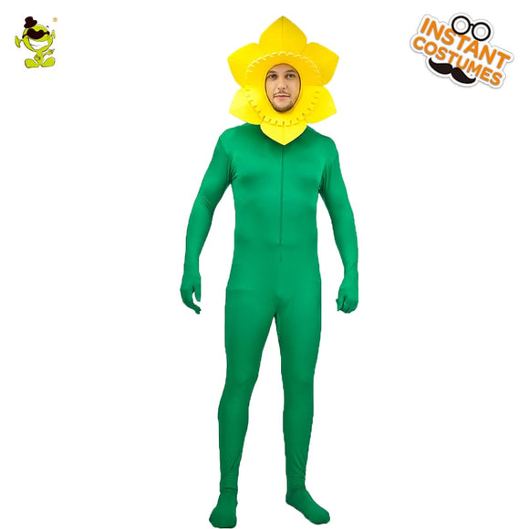 Men's Christmas Sunflower Costume Funny Sunflower Role Play Fancy Dress For Adult Party Light Color Cosplay