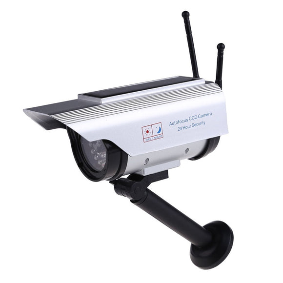 LED Red Light Flashing Solar Power+ Battery Powered Dummy Outdoor Security Home CCTV Bullet High Simulation Fake Camera