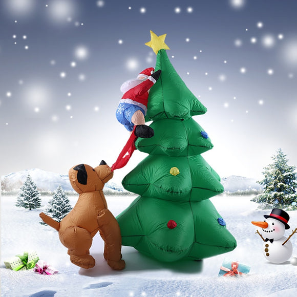 1.8m 70inch LED Lighted Inflatable Christmas Tree Santa Claus Chased by Dog Decor X'mas Outdoor Decorations Ornaments AC100-240V