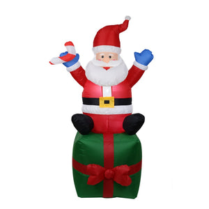 180cm Giant Santa Claus Mascot LED Lighted Inflatable Toys with Pump Christmas Halloween Party Props Yard Garden Deco Blow Up