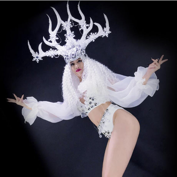 White christmas dance flowers hat LED light costumes female LED Antlers performance costume
