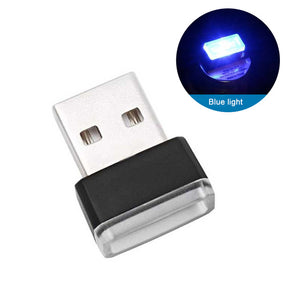Mini USB Light LED Modeling Car Ambient Light Neon Interior Light Car Jewelry (7 kinds of light colors)