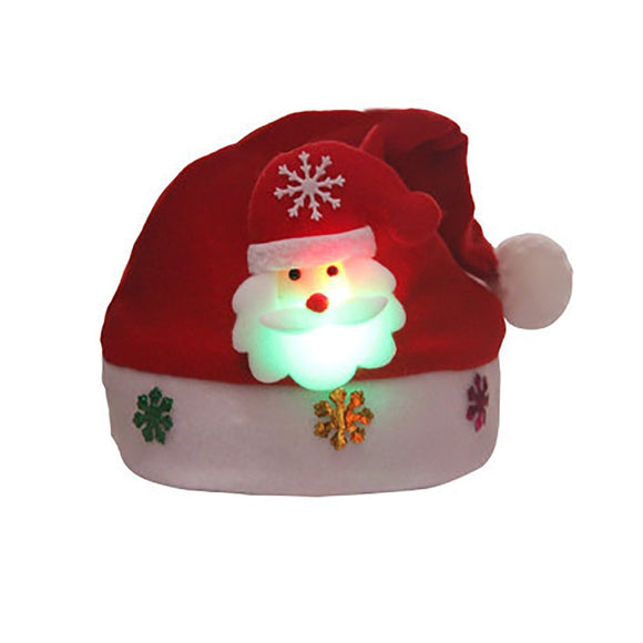 Unisex Soft Warm Caps Christmas Hats with Light Christmas Hats Xmas Kids Gift Comfortable Party Accessories