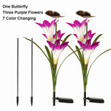 Solar Powered Garden Light Outdoor Waterproof 7 Color Change Lighting Butterfly Flower Led Fairy Light Lawn Lamp Christmas Decor