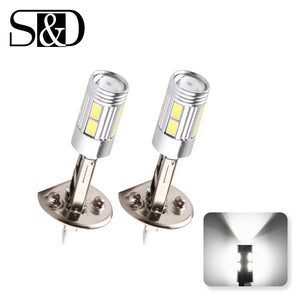 H1 LED Bulbs Super Bright High Power H3 10-SMD 5630 Auto LED Car Fog Signal Turn Light Driving Lamp White Amber Red D45