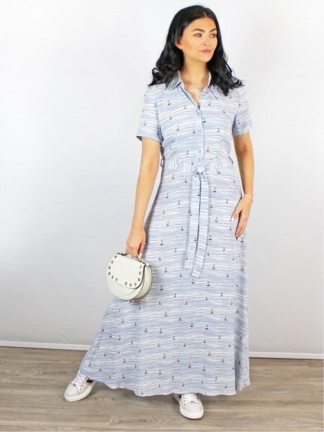 Zilch Sailor print long belted shirt dress in Heaven blue - CW CW