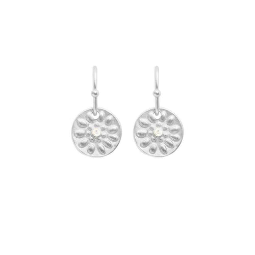 Dansk Copenhagen Daisy embossed disc drop earring in Silver - CW CW
