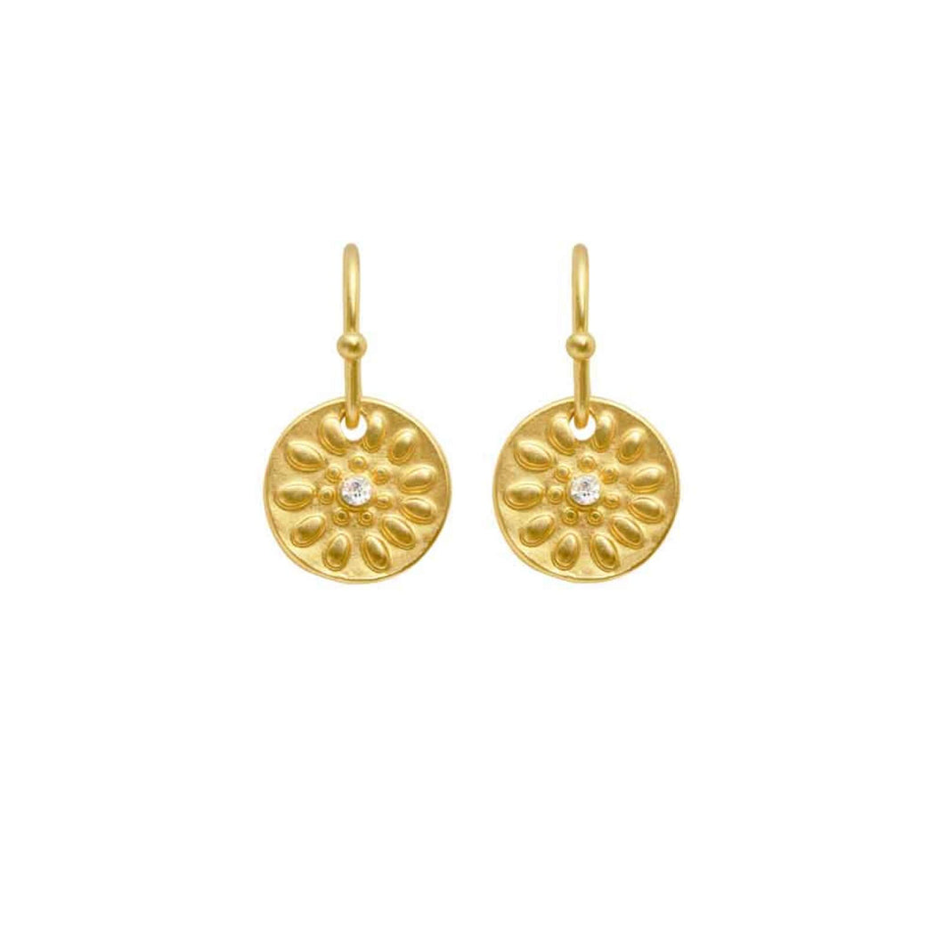 Dansk Copenhagen embossed daisy disc drop earring in Gold - CW CW