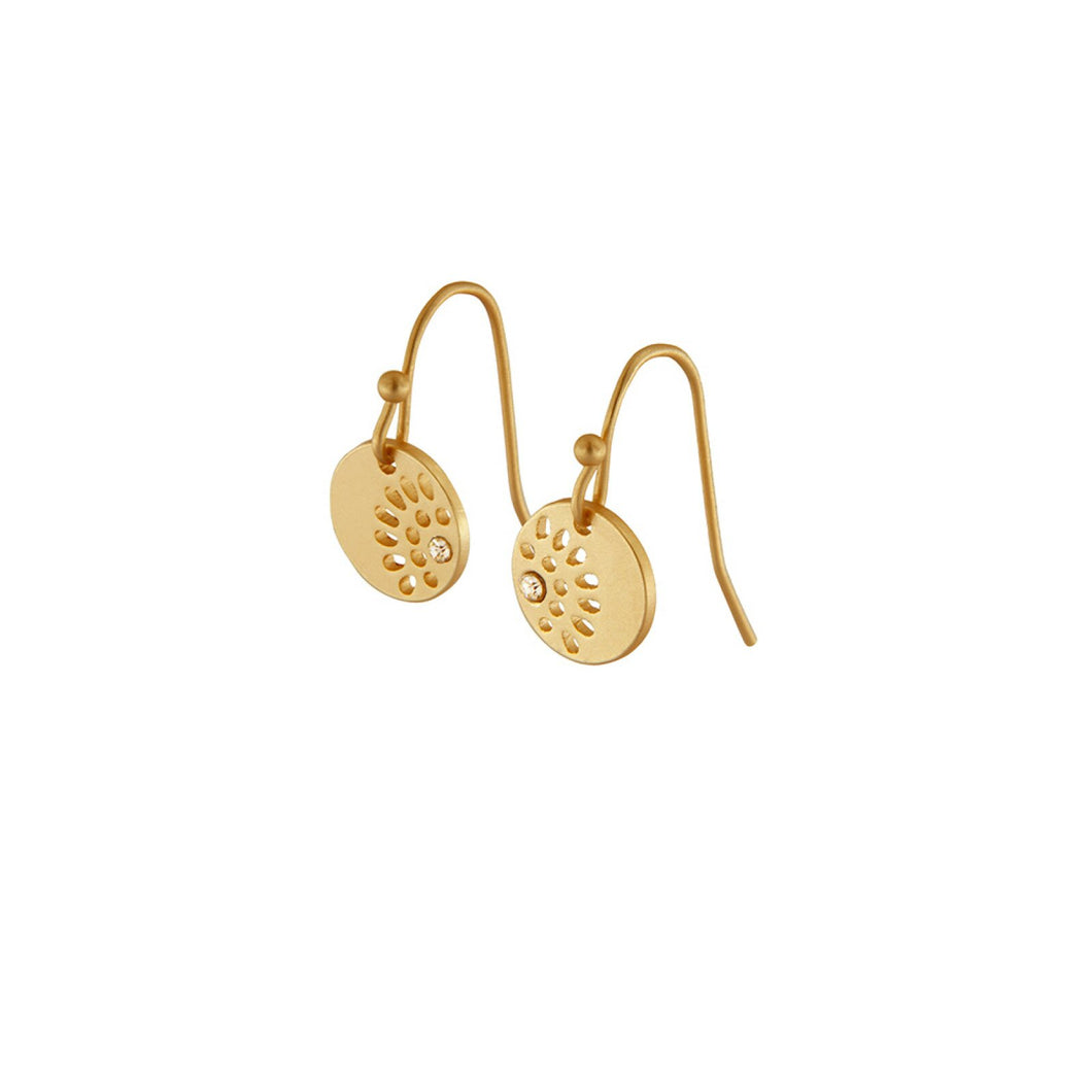 Dansk Copenhagen Daisy simple flower hook earring Gold Plated