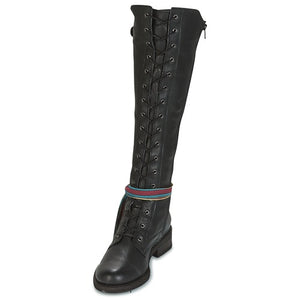 Felmini Lace up knee high Boot in Black