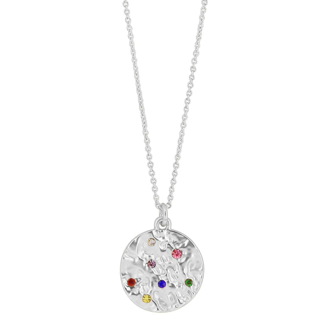 Dansk Copenhagen Amber round rainbow crystal detail necklace in Silver - CW CW