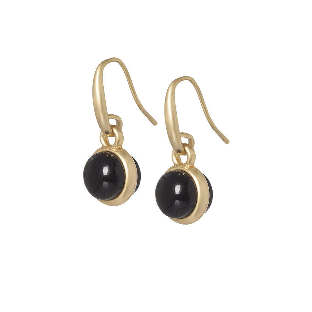 Sence Elegant ball drop earring in Black Agate and Gold