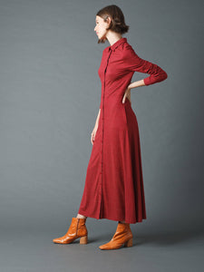Indi & Cold Pin dot print tricot belted shirt dress in Wine
