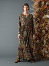 Load image into Gallery viewer, Indi & Cold Pomegranate print boho dress in Black