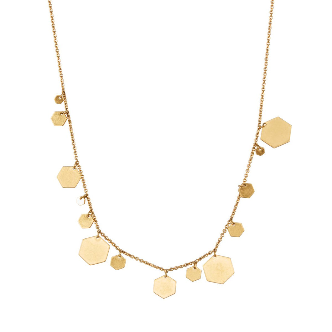 Sence Shadow hexagonal shapes necklace in plated Gold