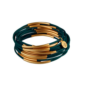 Sence Urban Gypsy leather stacker bangles in Deep Green and Worn Gold