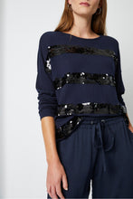Load image into Gallery viewer, Great Plains Queenie sequin stripe knit in Midnight Navy & Black