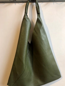 Bagitali Leather slouch bag in olive - CW CW
