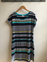 Load image into Gallery viewer, Foil Irregular stripe jersey dress in Navy - CW CW