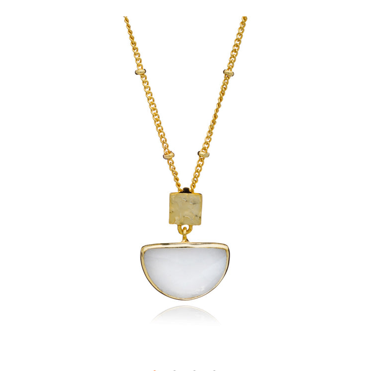 Azuni Skylar half moon necklace in Moonstone - CW CW