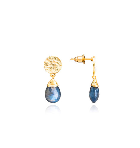 Azuni Kate drop gemstone earrings in Gold with Labradorite - CW CW