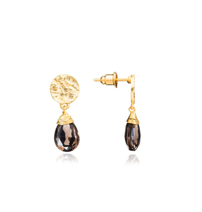 Azuni Kate drop gemstone earrings in Gold with Smokey Quartz - CW CW