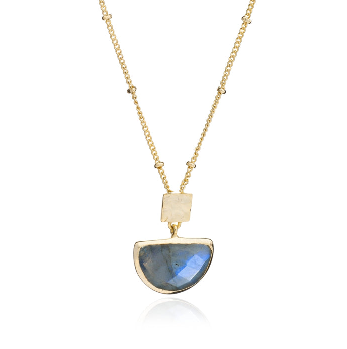 Azuni Skylar half moon necklace in Labradorite - CW CW