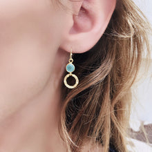 Load image into Gallery viewer, Azuni Larissa hoop and gemstone drop gold earring with Aqua - CW CW