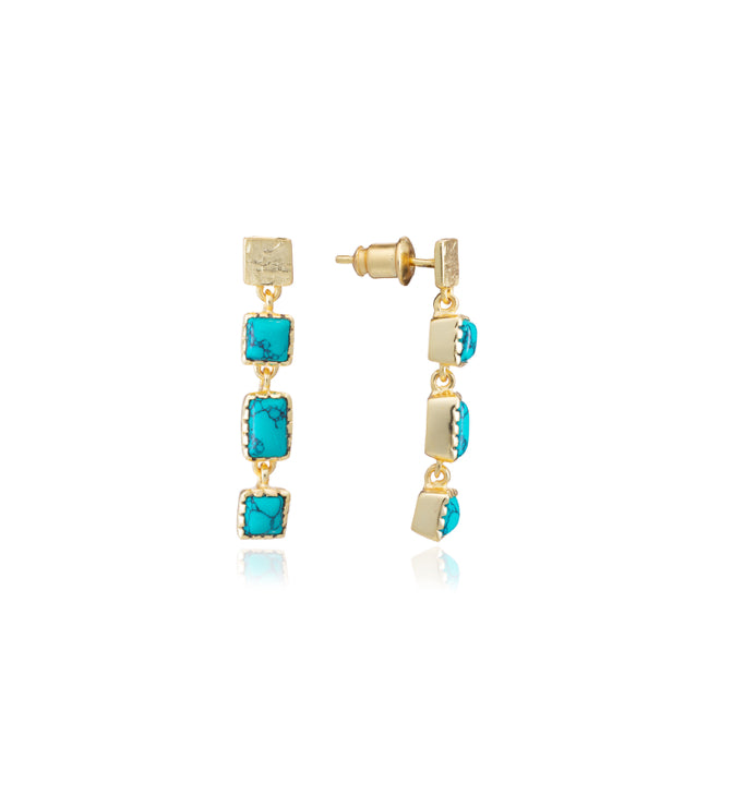 Azuni Mosaic drop stud long earring in gold with Magnesite Turquoise - CW CW