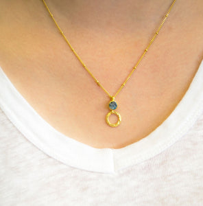 Azuni Larissa gemstone ball and trace chain necklace in Gold with labradorite - CW CW