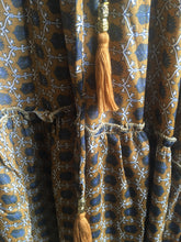 Load image into Gallery viewer, Black Colour ornate tile print tassle tie detail blouse in Wild gold
