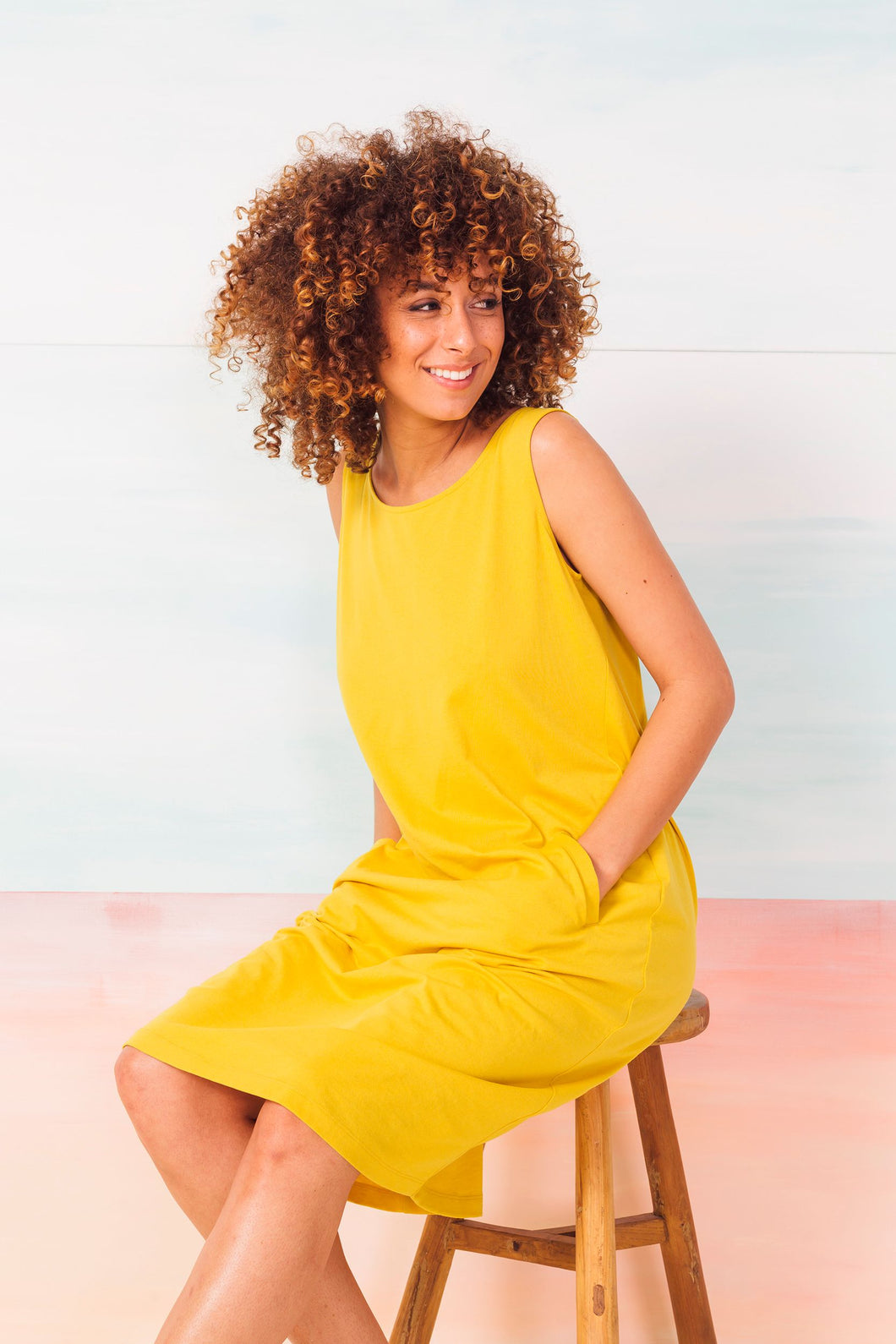 SKFK Aizane textured jersey tie back dress in Yellow - CW CW