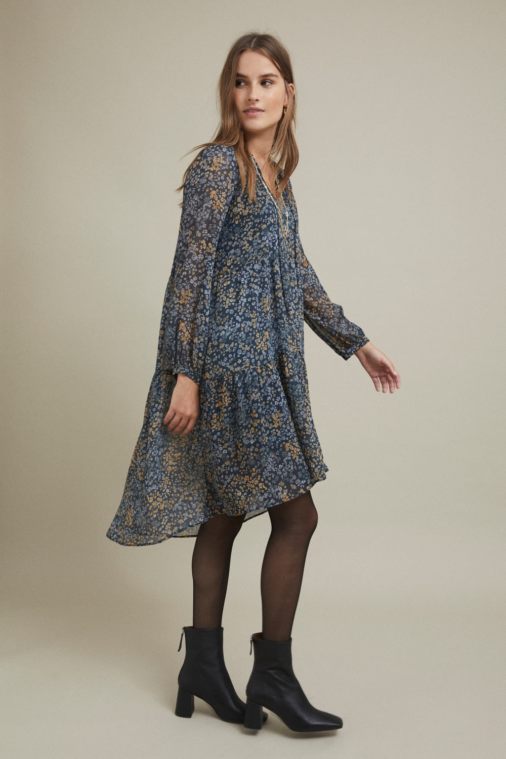 ese O ese Abby printed georgette midi dress in Liberty Blue