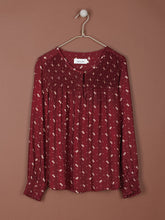 Load image into Gallery viewer, Indi & Cold Small flower printed blouse with shirring detail in Wine