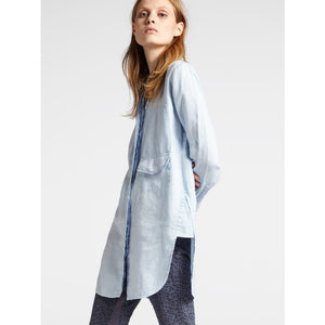 Sandwich Long linen blouse with pocket details in Sky blue - CW CW