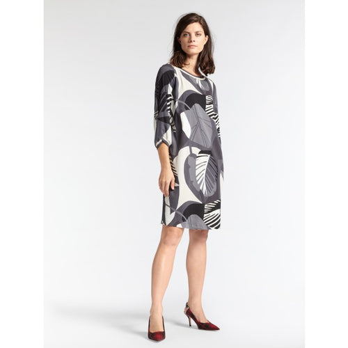 Sandwich Organic print dress with rib detail in Anthracite - CW CW