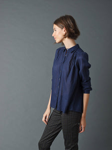 Indi & Cold Evase pleat and stitch detail shirt in Ink
