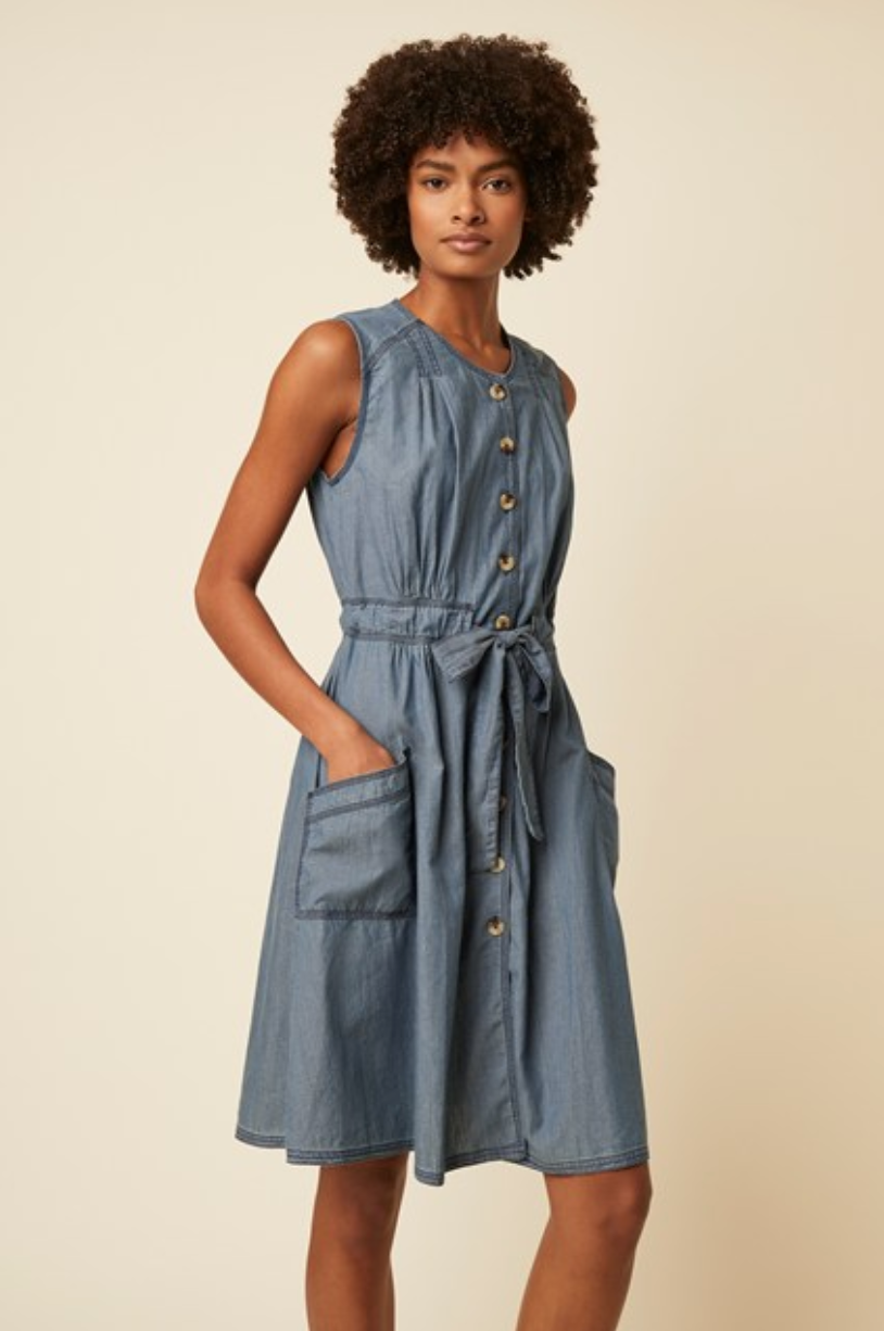 Great Plains Luca sleeveless round neck dress in Denim - CW CW
